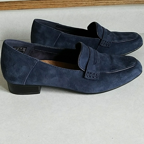 d3698c78e2f Clarks Shoes - Clarks Artisan Keesha Cora Blue Suede Penny Loafer